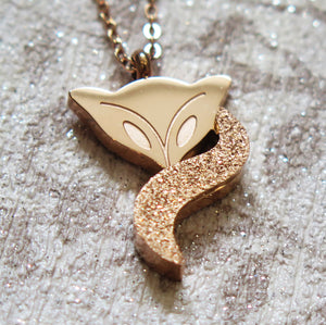 Spiritual Fox Pendant Necklace in Gold, Platinum or Rose Gold Plated
