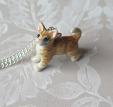 Load image into Gallery viewer, Ginger Tabby Cat Kitten Porcelain Pendant Necklace
