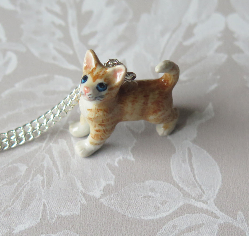 Ginger Tabby Cat Kitten Porcelain Pendant Necklace