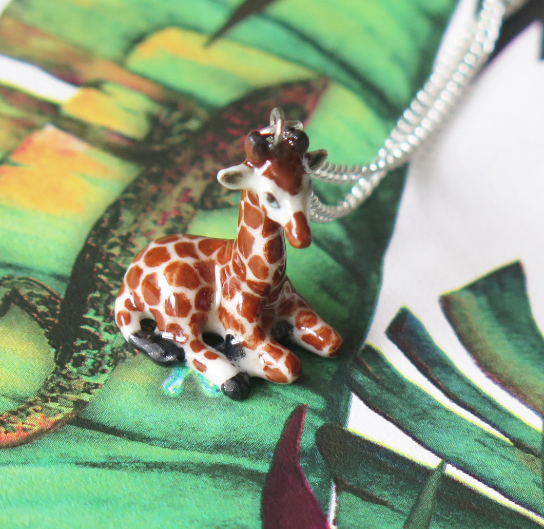 Giraffe Porcelain Pendant Necklace