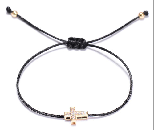 Christian Faith Jesus Cross Crystal Silk Adjustable Bracelet in Gold or Rose Gold