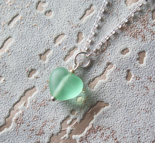 Frosted Green Lampwork Heart Pendant Necklace