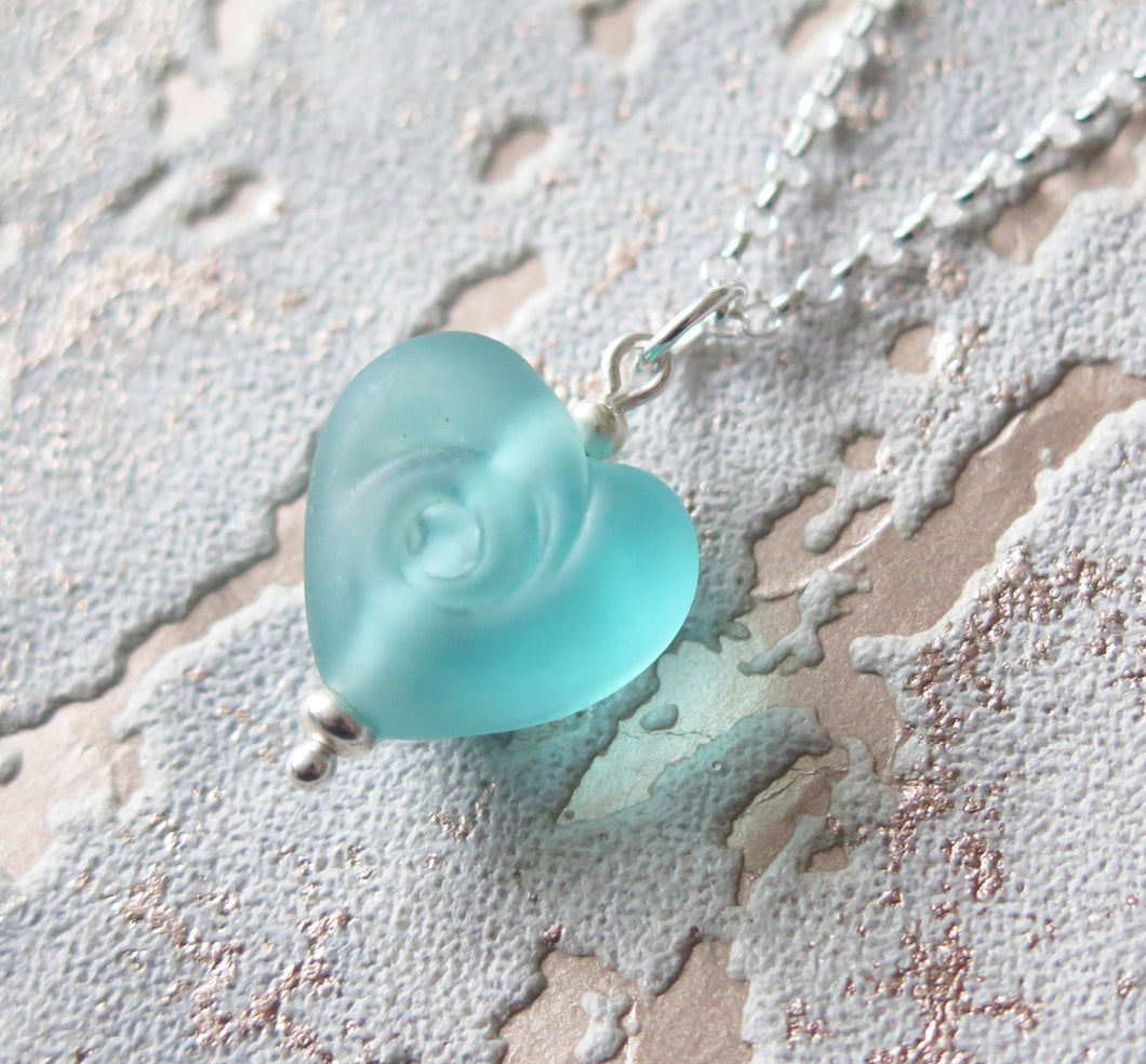 Frosted Blue Glass Lampwork Beach Wave Swirl Heart Pendant Necklace