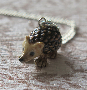 Hedgehog Porcelain Pendant Necklace