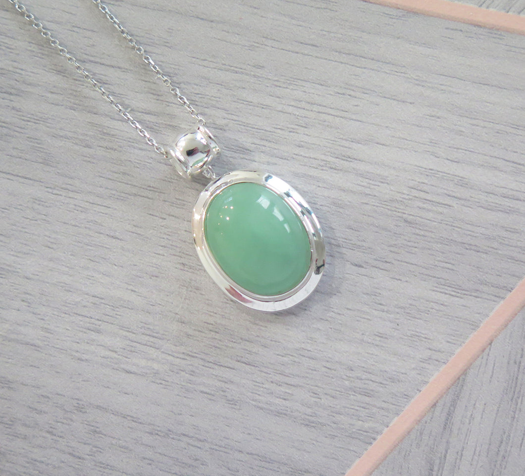 Lucky Real Genuine Grade A Natural Green Jade & 925 Sterling Silver Oval Pendant