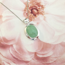 Load image into Gallery viewer, Lucky Real Genuine Grade A Natural Green Jade & 925 Sterling Silver Oval Pendant
