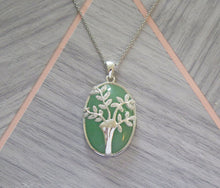Load image into Gallery viewer, Lucky Genuine Grade A Jade & 925 Sterling Silver Crystal Tree of Life Pendant