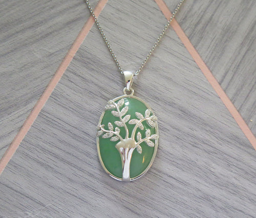 Lucky Genuine Grade A Jade & 925 Sterling Silver Crystal Tree of Life Pendant