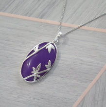 Load image into Gallery viewer, Lucky Rare Genuine Grade A Lavender Jade 925 Sterling Silver Bamboo Oval Pendant