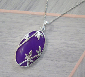 Lucky Rare Genuine Grade A Lavender Jade 925 Sterling Silver Bamboo Oval Pendant