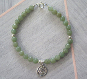 Lucky Genuine Grade A Jade & 925 Sterling Silver Celtic Tree of Life Bracelet