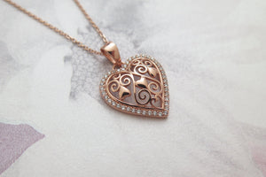 Celtic Knot Love Heart Rose Gold Plated Solid 925 Sterling Silver Pendant Necklace with Filigree Celtic Knotwork