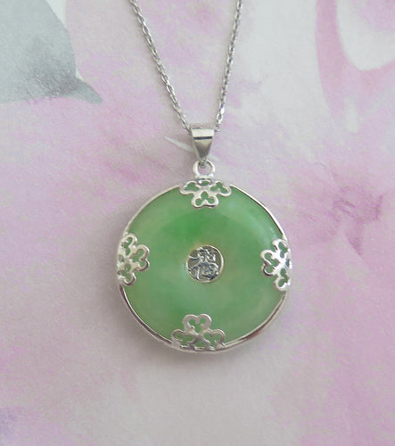 Lucky Genuine Grade A Natural Jade & 925 Sterling Silver Good Fortune Pendant