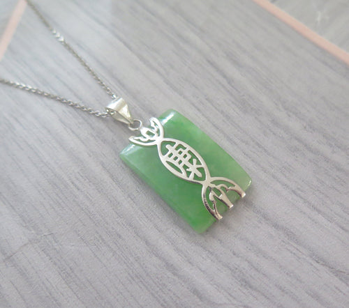 Lucky Genuine Grade A Natural Jade & 925 Sterling Silver Good Health Pendant