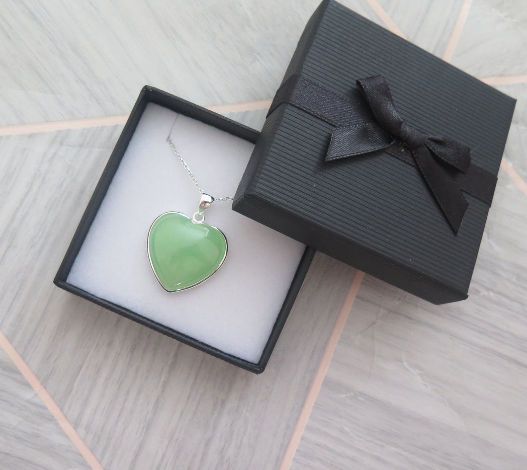 Lucky Genuine Grade A Natural Green Jade & 925 Sterling Silver Heart Pendant
