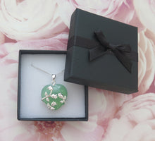 Load image into Gallery viewer, Lucky Grade A Natural Green Jade & 925 Sterling Silver Rose Heart Pendant