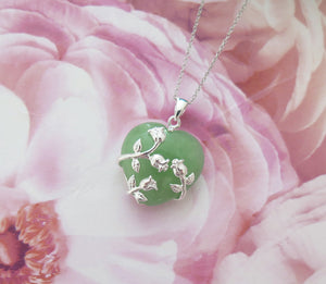 Lucky Grade A Natural Green Jade & 925 Sterling Silver Rose Heart Pendant