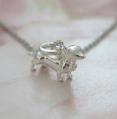 Solid 925 Sterling Silver Miniature Daschund Pendant Necklace