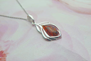 Solid 925 Sterling Silver Real Genuine Cognac Amber Leaf Pendant Necklace