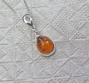 Solid 925 Sterling Silver Real Genuine Cognac Amber Teardrop Pendant Necklace