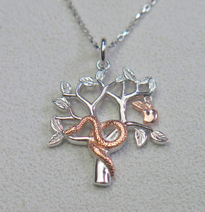 High Quality Solid 925 Sterling Silver Garden of Eden Faith Pendant Necklace