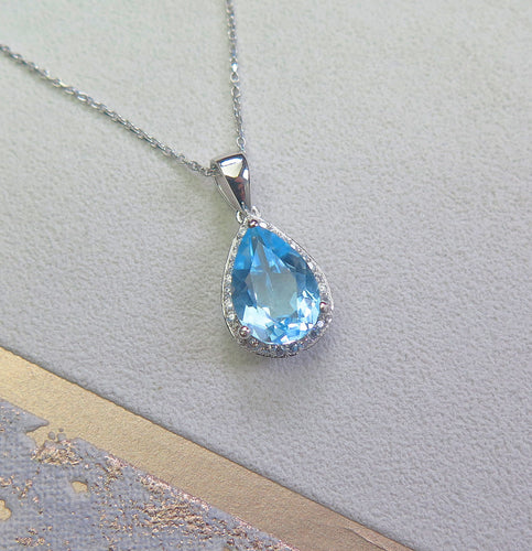 Solid 925 Sterling Silver Genuine High Quality Topaz Crystal Teardrop Pendant Necklace