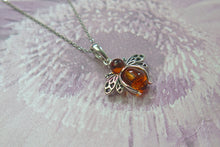 Load image into Gallery viewer, Solid 925 Sterling Silver Real Genuine Cognac Amber Lucky Bee Pendant Necklace