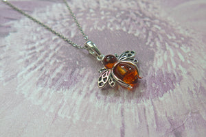 Solid 925 Sterling Silver Real Genuine Cognac Amber Lucky Bee Pendant Necklace