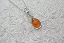 Load image into Gallery viewer, Solid 925 Sterling Silver Real Genuine Cognac Amber Teardrop Pendant Necklace