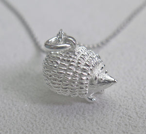 High Quality Solid 925 Sterling Silver Lucky Hedgehog Pendant Necklace