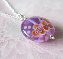 Load image into Gallery viewer, Glass Lampwork Orchid Flower Pendant Necklace