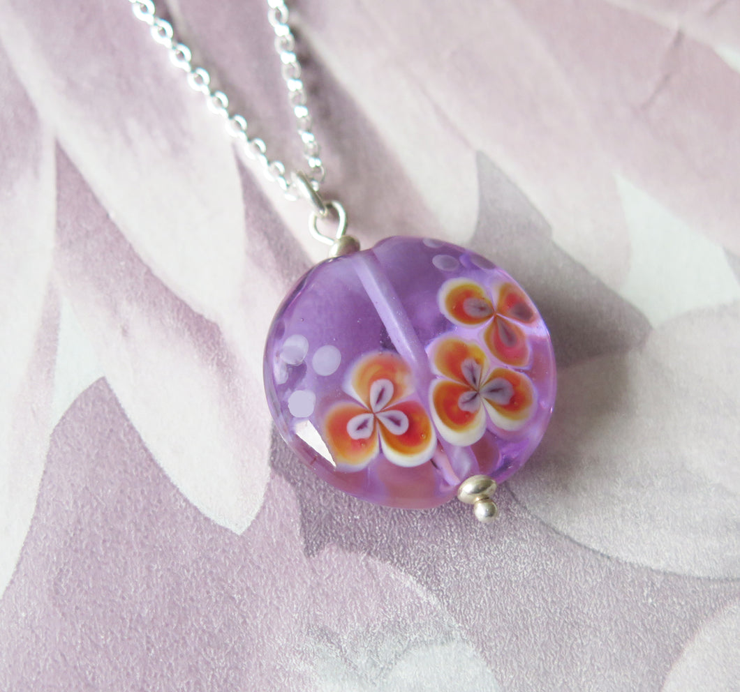 Glass Lampwork Orchid Flower Pendant Necklace