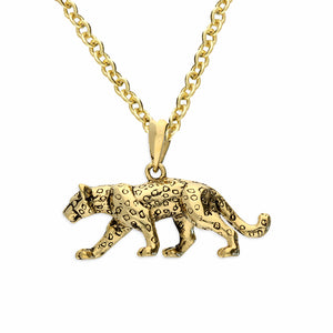 Sterling Silver 24k Gold Plated Leopard Pendant Necklace