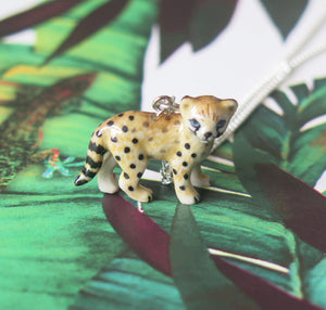 Baby Leopard Porcelain Pendant Necklace