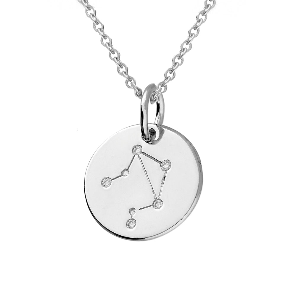 Libra Star Constellation Sterling Silver Pendant Necklace