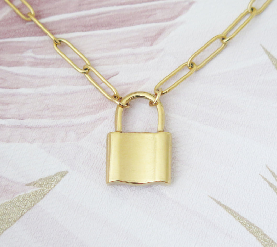 Love Lock Padlock Pendant Necklace