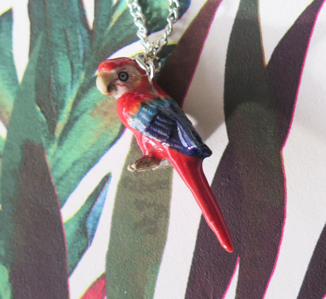 Parrot Porcelain Pendant Necklace