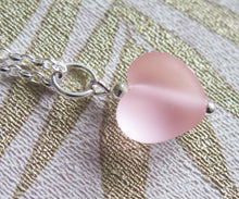 Load image into Gallery viewer, Frosted Pink Glass Lampwork Heart Pendant Necklace
