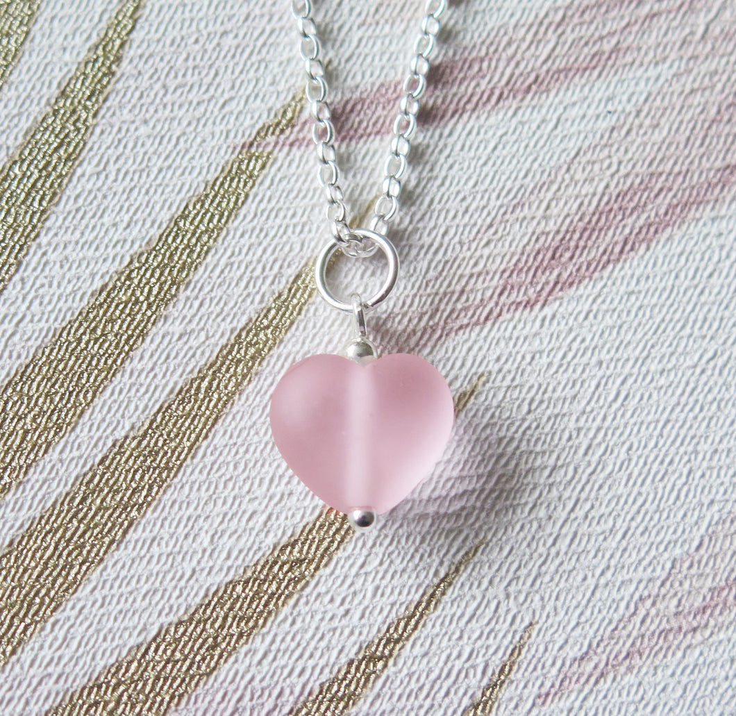 Frosted Pink Glass Lampwork Heart Pendant Necklace