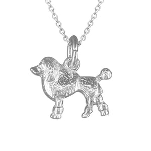 Sterling Silver Poodle Dog Pendant Necklace