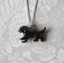Load image into Gallery viewer, Dachshund Puppy Dog Porcelain Pendant Necklace