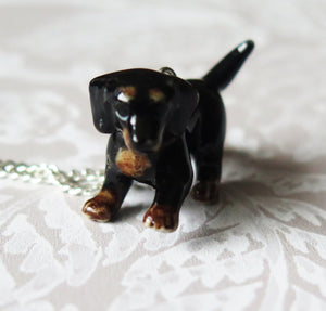 Dachshund Puppy Dog Porcelain Pendant Necklace