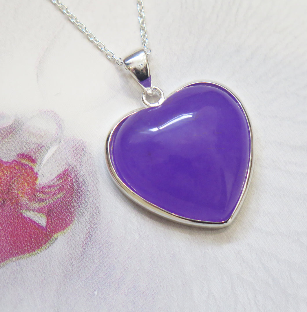 Sterling Silver Lavender Jade Heart Pendant Necklace