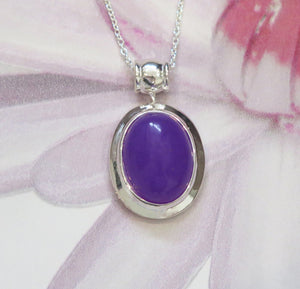 Sterling Silver Lavender Jade Oval Pendant Necklace