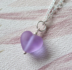Frosted Purple Glass Lampwork Heart Pendant Necklace