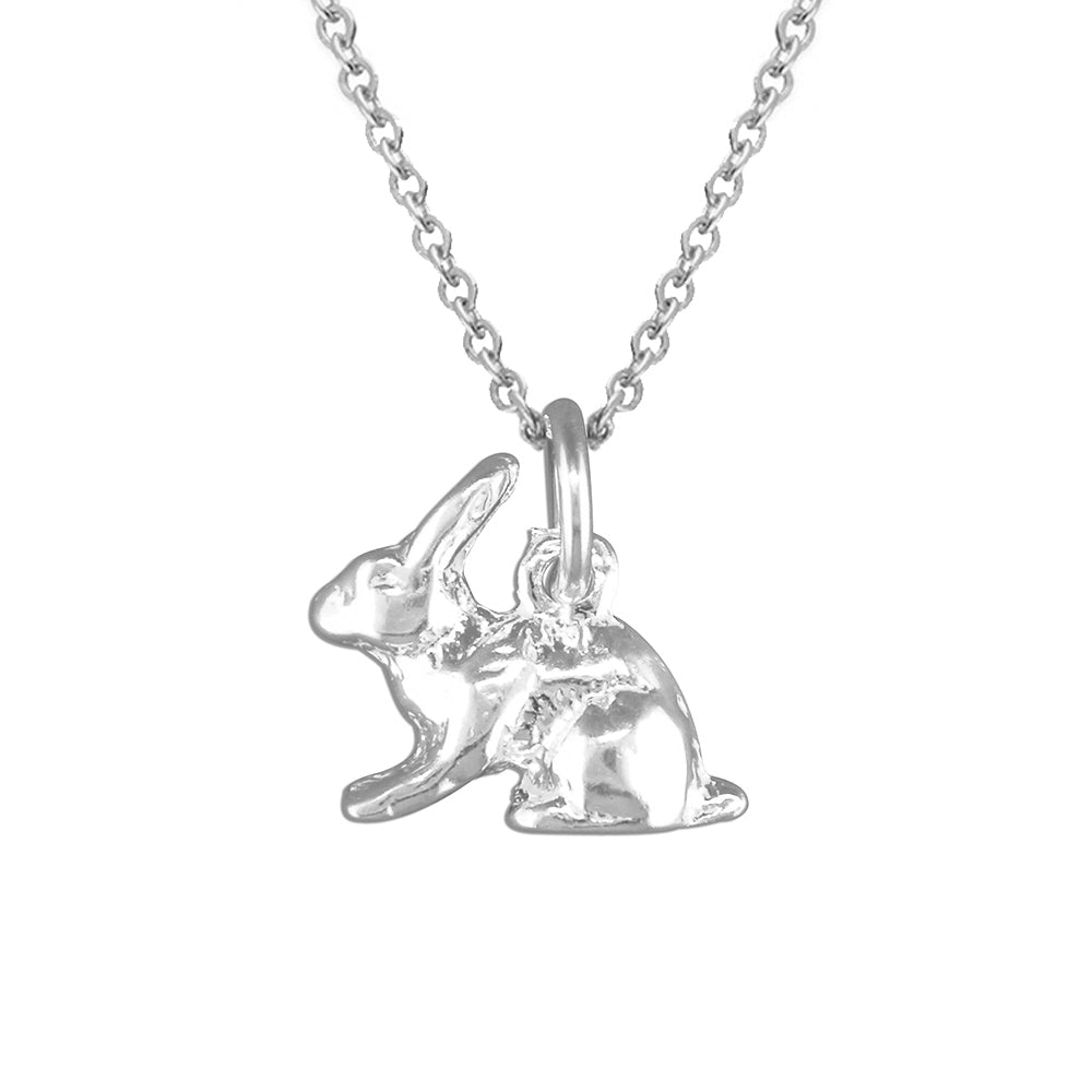 Sterling Silver Cute Bunny Rabbit Pendant Necklace