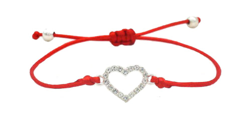 Kabbalah Crystal Heart Red Adjustable Silk Rope Bracelet