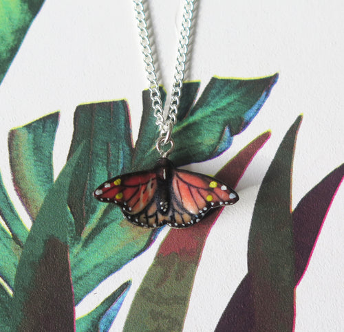 Red Butterfly Porcelain Pendant Necklace