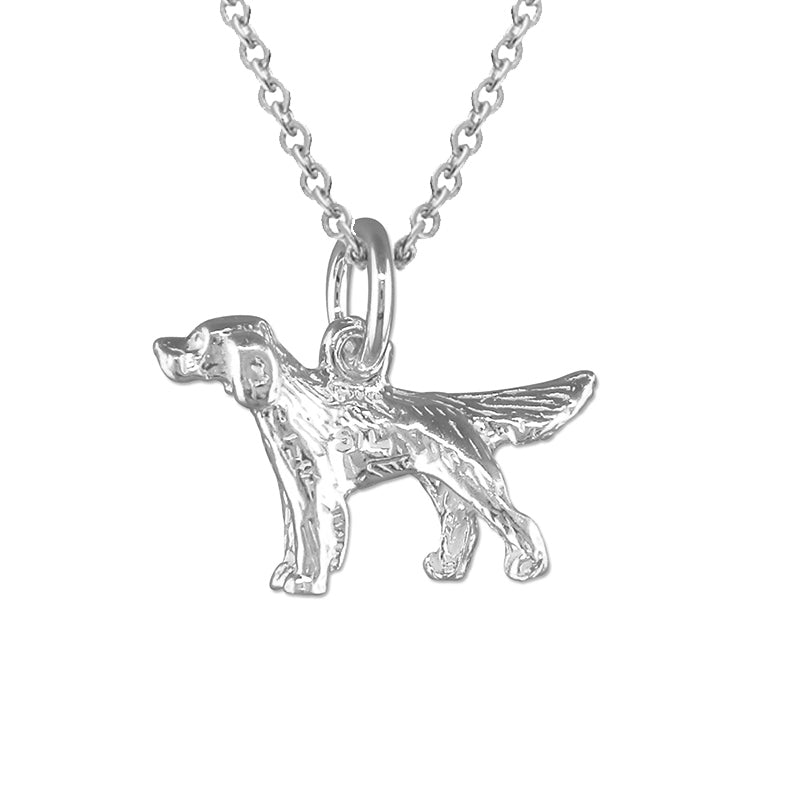 Sterling Silver Golden Retriever Dog Pendant Necklace