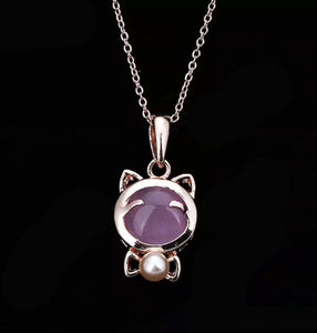 Lucky Cat Maneki Neko Pink Opal with Pearl Pendant Necklace